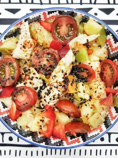 Ensalada de verduras y seitan