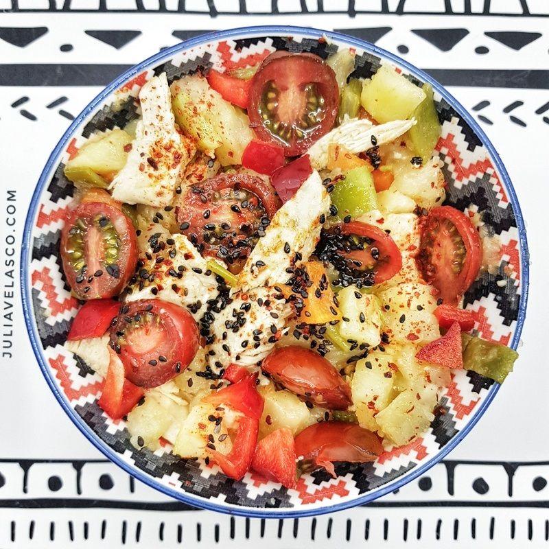 Ensalada de verduras y seitán