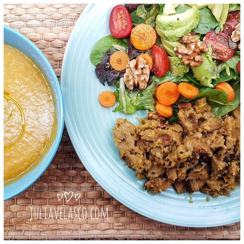 Salteado de seitán con verduras al curry