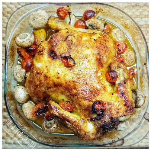 Pollo al horno con champiñón