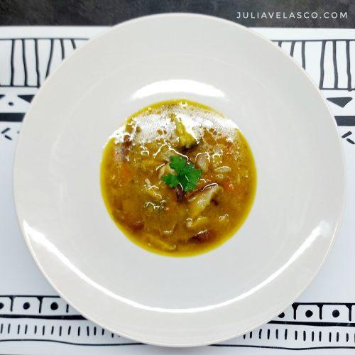 Sopa Juliana con shiitake